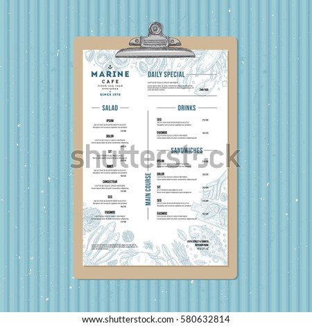 seafood menu template fish restaurant identity stock vector royalty
