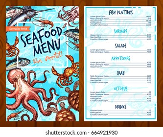 Seafood menu template for fresh sea and fish food restaurant. Vector price design for tuna or salmon fish platters, shrimps or lobster crab salads and squid or octopus appetizers and drinks