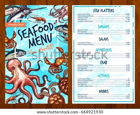 seafood menu template fresh sea fish stock vector royalty free