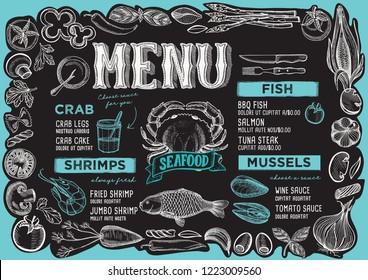 Seafood menu template for restaurant on a blackboard background vector illustration brochure for food and drink cafe. Design layout with vintage lettering and frame of hand-drawn vegetables.
