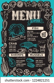 Seafood menu template for restaurant on a blackboard background vector illustration brochure for food and drink cafe. Design layout with vintage lettering and frame of hand-drawn graphic vegetables.