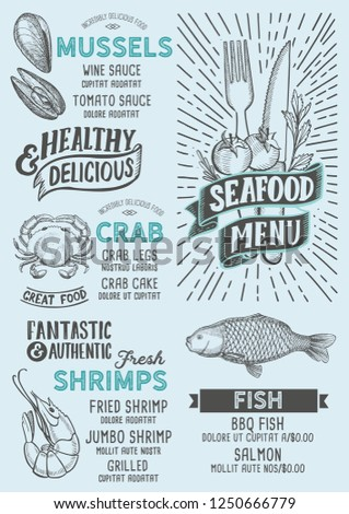 Seafood Menu Template Restaurant On Blue Stock Vector Royalty Free