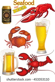 Seafood - Mug of beer and crab, crayfish,  lobster