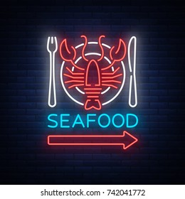 Seafood neon logo icon vector illustration. Lobster emblem, neon advertisement, night sign for the restaurant, cafe, bar with seafood. Glowing banner, a template for your projects