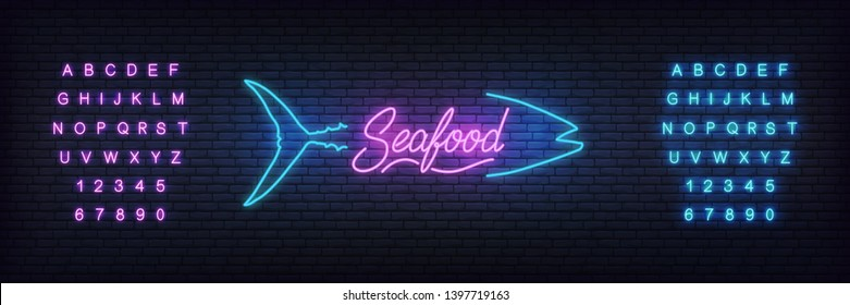 Seafood neon template. Glowing lettering seafood sign for bar, pub, restaurant.