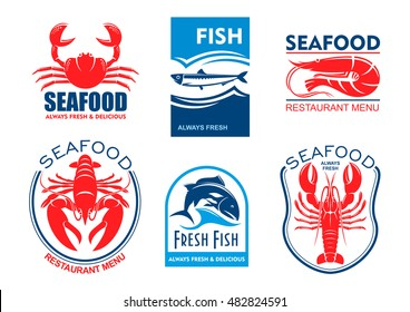 Seafood products icons. Vector emblems set for product sticker, company label, restaurant menu. Graphic symbols of crab, herring, shrimp, lobster, tuna fish