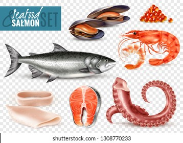 Seafood realistic set with whole fresh salmon shrimps squid slices octopus tentacles mussels transparent background vector illustration