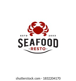 seafood red crab restaurant logo design icon for food Business, classic vintage retro style logotype Vector typography