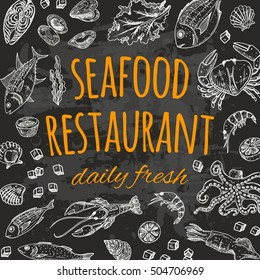 Seafood restaurant card on the chalkboard. Daily fresh. Hand drawn vector illustration.
