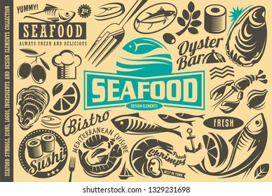 Seafood restaurant design elements collection. Fish, oyster, lobster, shrimp, sushi, olive, tuna, citrus and other vector graphics suitable for symbols, logos, icons, emblems and menus.