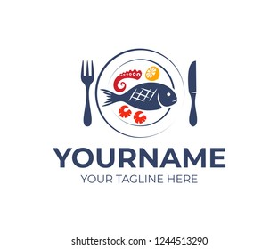 Seafood restaurant, fork, knife and plate with fish, octopus, squid, shrimp and lemon, logo design. Food, fast food, organic and natural meal, vector design and illustration