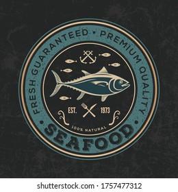 Seafood restaurant logo design concept with Tuna fish. Vector illustration