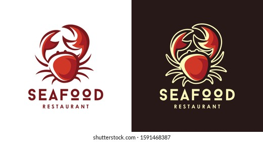 Seafood Restaurant Logo Design template. Crab Vector Illustration.