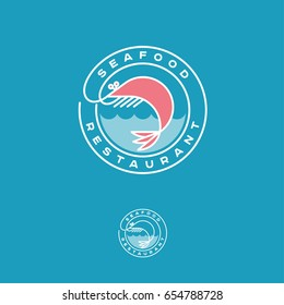Seafood restaurant logo. Pink shrimp with waves and letters in a circle.
