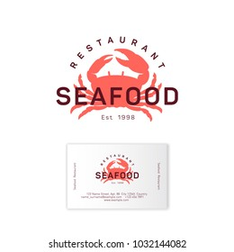 Seafood restaurant logo. Red crab silhouette emblem. Identity. Business card.
