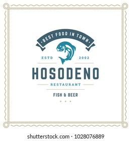 Seafood restaurant logo vector illustration. Market emblem, fish silhouette. Vintage typography badge design.