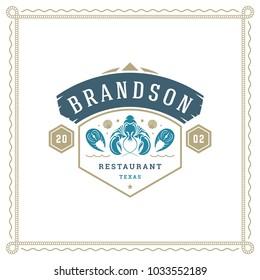 Seafood restaurant logo vector illustration. Market emblem, lobster silhouette. Vintage typography badge design.