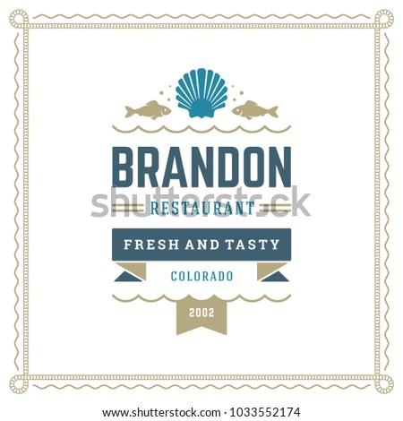 Seafood Restaurant Logo Vector Illustration Market Stock