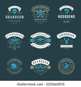 Seafood restaurant logos set vector illustration. Market and fisherman emblems, fishes and seafood silhouettes. Vintage typography badges design.