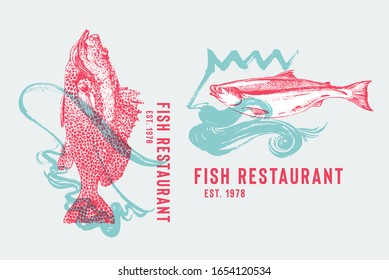 Seafood restaurant logotype with grouper fish dancing flamenco and Salmon with Neptune. Hand drawn fish by waves of flamenco skirt vector illustration. Spanish Dance and Food