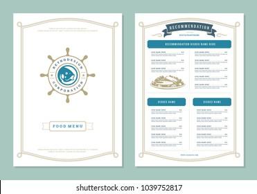 Seafood restaurant menu design and logo vector brochure template. Fish silhouette.