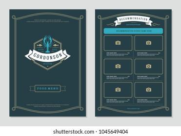 Seafood restaurant menu design and logo vector brochure template. Lobster silhouette.