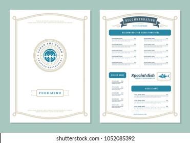 Seafood restaurant menu design and logo vector brochure template. Fish steak silhouette.