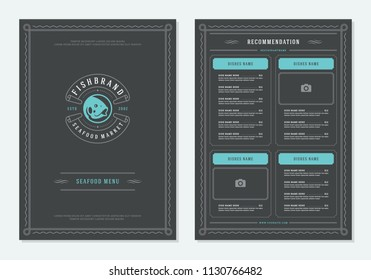 Seafood restaurant menu design and logo vector brochure template. Fish silhouette.