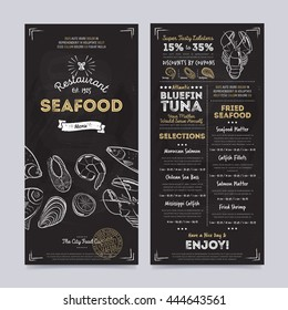 Seafood restaurant menu design template on chalkboard background vector illustration.