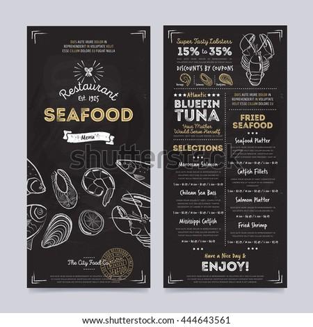 seafood restaurant menu design template on stock vector royalty