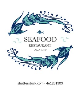 Seafood restaurant and seafood menu identity - Logo with two fish with ornate tails. Vector Illustration