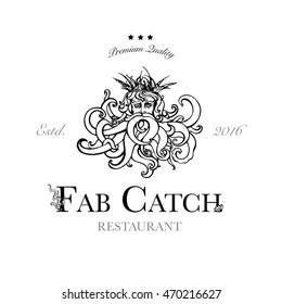 Seafood restaurant and seafood menu identity - Logo with God of Sea Poseidon. Vector Illustration