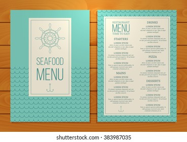 Seafood restaurant menu on wooden background. Unique vector template.
