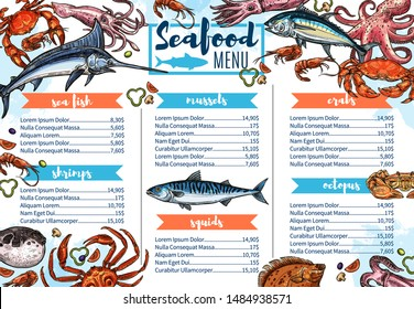 Seafood restaurant menu sketch cover, sea fish and gourmet food. Vector shrimps, crab or lobster barbecue, chef recipe salmon steak, squids and octopus, sardine and dorada grill bar menu