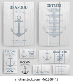Seafood restaurant menu template. Anchor on the wooden board. Branding. Business card, flyer, vip card and gift voucher. Vector design.
