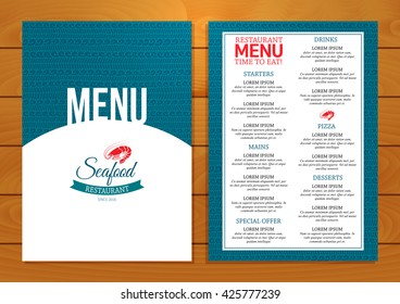 Seafood restaurant menu template on wooden backdrop. Vector illustration.