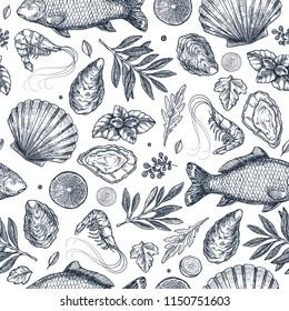 Seafood restaurant seamless pattern.  Fish, seashell, leaf, shrimp. Engraved vintage sea set. Vector illustration
