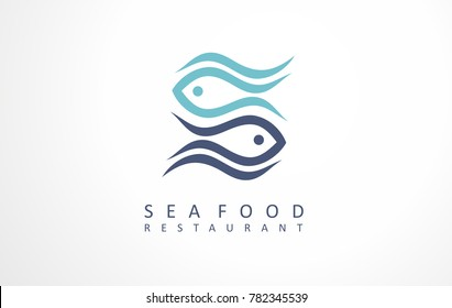 Seafood restaurant symbol, icon sign and logo. Fish vector illustrations for bistro or seaside inn. Great view for fish business.