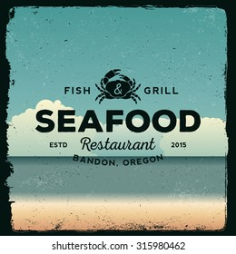seafood restaurant vintage emblem. logotype template