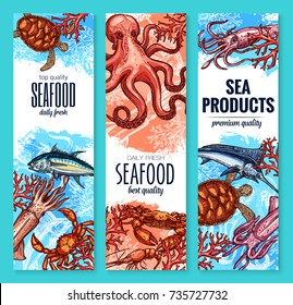 Seafood and sea product banner set of vector marine animal. Crab or lobster, tuna, marlin fish, shrimp or prawn, octopus, squid, sea turtle sketch for seafood restaurant, fishing, fish market design