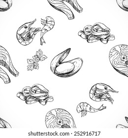 seafood seamless background doodle vector