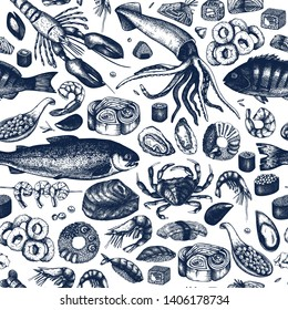 Seafood seamless pattern. With fresh fish, lobster, crab, oyster, mussel, squid ring, caviar, sushi, shrimps sketches. Vintage sea food background. Vector menu template for restaurant or festival .
