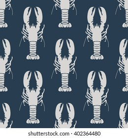 Seafood seamless pattern retro marine with lobsters