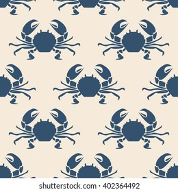 Seafood seamless pattern retro marine with crabs