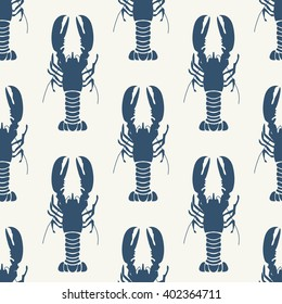 Seafood seamless pattern retro marine with lobster