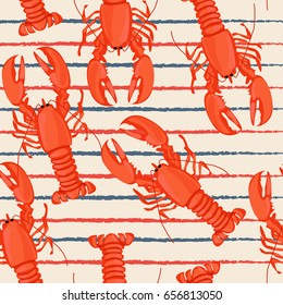 Seafood seamless pattern retro marine background with lobster