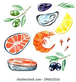 Seafood. Set of nautical food. Watercolor illustration. Fish, prawns, oyster, olives, lemon, cloves and mussels.