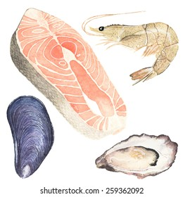 Seafood. Set of watercolor oyster, mussel, salmon steak and sea prawn on the white background, aquarelle. Vector illustration. Hand-drawn original elements