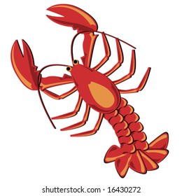 Seafood. Shellfish. Lobster illustration isolated over white.