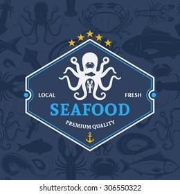 Seafood shop logo and seamless pattern